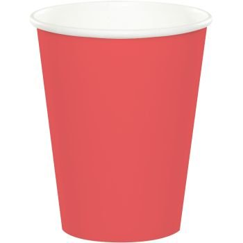 Creative Converting 9 oz Hot/Cold Cups, Coral