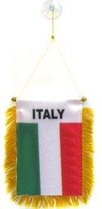 AZ FLAG Italy Mini Banner 6'' x 4'' - Italian Pennant 15 x 10 cm - Mini Banners 4x6 inch Suction Cup Hanger