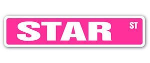 STAR Street Sticker Sign name childrens room door gift kid child boy girl wall entry - Sticker Graphic - Auto, Wall, Laptop, - Star Street Sign