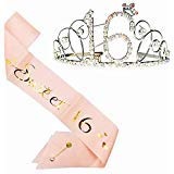 16th Birthday Party Supplies, 16th Birthday Tiara and Sash, Happy 16th Birthday Party Supplies, Sweet 16 Sash & Rhinestone Tiara Kit -