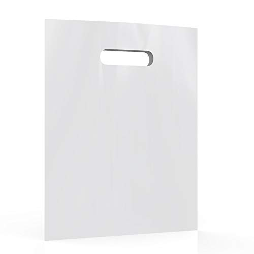 White Merchandise Plastic Shopping Bags - 100 Pack 12