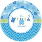 amscan ''It's a Baby Boy 7'' Blue Round Plates, 96 Ct.