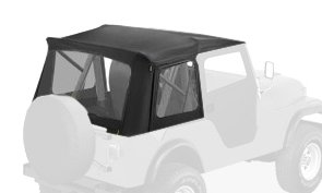 Jeep Cj5 Tops (Bestop 51595-15 Black Denim Supertop Classic Replacement Soft Top with Clear Windows; 2-pc. Full Doors for 1955-1975 Jeep CJ5 & 1951-1962 M38A1)