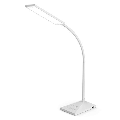 RAOYI LED Desk Lamp Eye-Caring Table Lamps, 5 Color Modes with 7 Levels of Brightness, Dimmable Office Lamp with USB Charging Port, Touch Control Sensitive, White, 12W