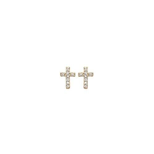 MARY JANE - Boucles d'oreilles plaqué Or Femme/Homme/Fille/Garçon - Larg:6mm / Haut:8mm - Plaqué or-Zirconium (Croix)