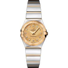 Omega Constellation Gold Diamond Dial Steel and Gold Ladies Watch 12320246058002