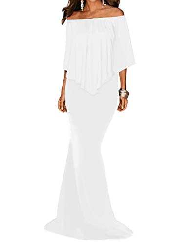 Shoulder Lrud Sin Mujeres Cinturón 2 Vestidos Noche Off Maxi White Elegante One Prom azqnxzRrIw