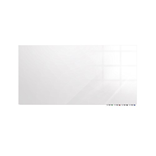 Aria 4'H x 6'W Low Profile 1/4'' Glass Whiteboard - Horizontal White - 4 Markers and Eraser by Ghent