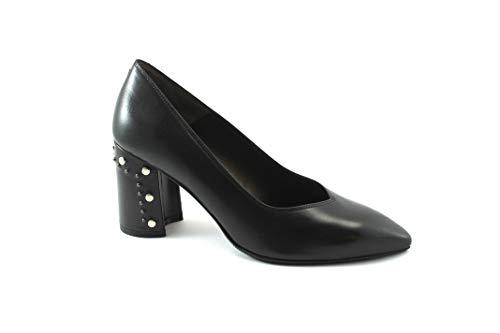 Schuhe Nero D5146 decollet Stollen Leder Zehe Melluso Schwarze Klobige Frau 7AxpwzEq