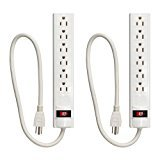 grounded white Ikea 6 outlet power strip with switch