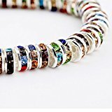 (Zehui Crystal Rondelle Spacer Bead Silver Plated 6mm Multicolor 100Pcs)