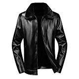 Clearance Sale ! Men Leather Coat,Vanvler Male Short Fleece Jacket Thermal Winter Warm Outwear Thickened (M, Black)