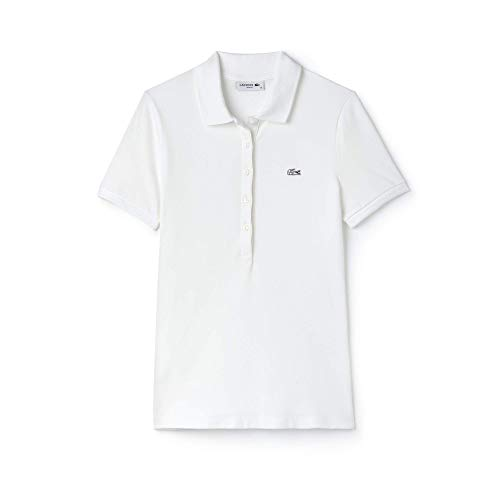 Lacoste Women's Classic Short Sleeve Slim Fit Stretch Pique Polo, PF7845, White, 12