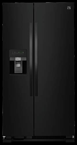 Black modern side-by-side fridge with freezer on left and refrigerator on the right.