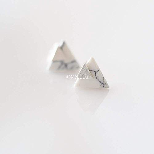 Silver Plated Chevron Triangle Geometric Marble Pattern Stud Earrings