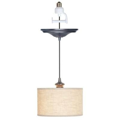 Worth Home Products Instant Screw In Pendant Light with Linen Fabric Shade (In Pendant Screw Lights)