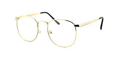 Color Prescription Costumes Contacts (Gold Vintage Retro Metal Alloy Clear Lens Glasses Spectacles Designer Nerd Eyeglass)