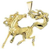 CleverEve 14K Yellow Gold Bolting Mustang Pendant with Flying Tail 23.6 Grams
