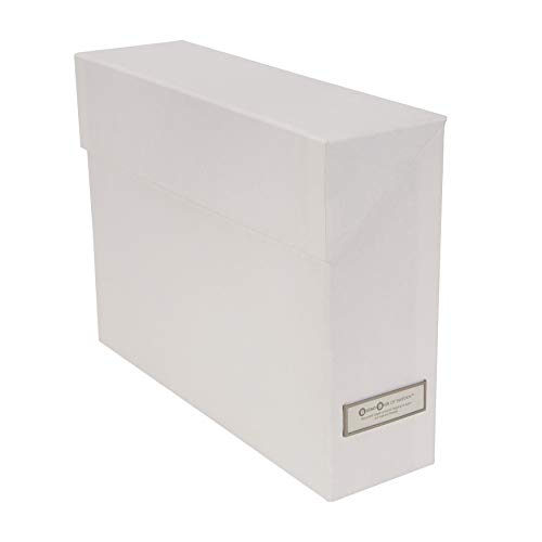 Storage High Box Gloss (Bigso Lovisa File Thin Label Frame Storage Box with 12 Files, White)