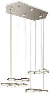 Elan Lighting 83125 Hexel - LED Chandelier, Sand Nickel Finish with Etched Acrylic Glass