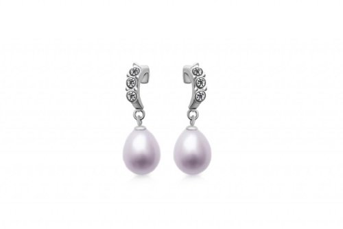 Drop Shaped Pearl Ring (Rhodium Plated 925 Sterling Silver with Cubic Zirconia and 7.5-8.0mm Lavender Purple Rice Tear Drop Freshwater Cultured Pearl Bent Curved Insect Shaped Love Post Drop Earrings)
