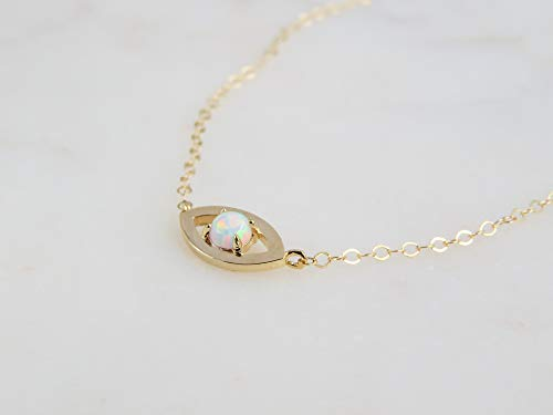 Lab Opal Evil Eye Protection Pendant Charm Short Necklace Gift for Women - 16
