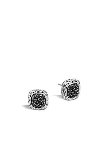 - John Hardy Women's Classic Chain Silver Lava Small Square Earrings with Black Sapphire