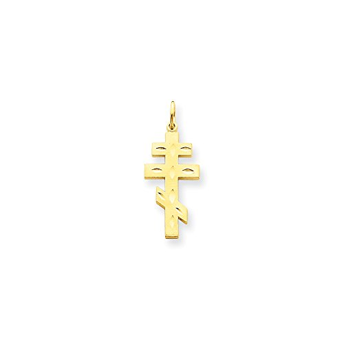 14k Engraveable Cross Pendant - 14k Yellow Gold Solid Satin Flat back Sparkle-Cut Not engraveable Eastern Orthodox Cross Pendant - Measures 25x13mm