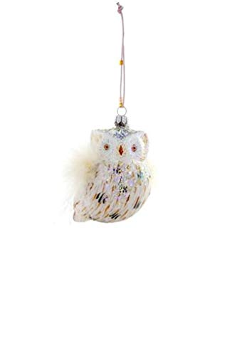 Cody Foster White Snowy Owl Glass Christmas Ornament (Owl White Feathered Ornaments)
