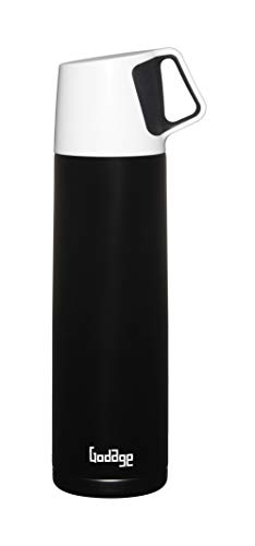 GODAGE Stainless Steel Double Wall Coffee Thermos | Vacuum Bottle | Amazing Temperature Retention Effect | Leak & Sweat Proof | Built-in Cup | To Someone You Love | 17 Ounce (500ml) | BPA Free (Black)