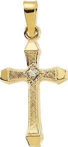 Pendentif Croix-Or jaune 14 carats avec diamant brut 17 x 11 mm-JewelryWeb