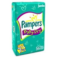 Pampers Baby Dry Diapers, Size 1, Sesame Street, 56-Count