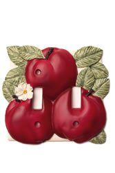 Red Apple Kitchen Decor Double Toggle Switch Plate Cover
