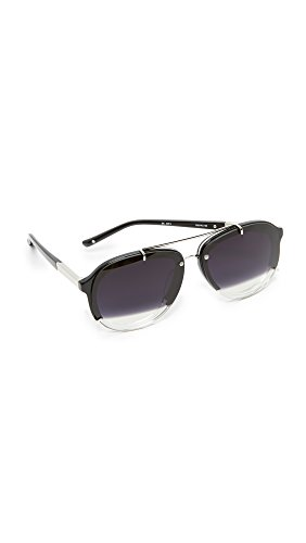 3.1 Phillip Lim Women's Split Aviator Sunglasses, Silver/Black to Clear, One - Lim Eyewear Phillip 3.1