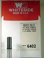 Whiteside Router Bits 6402 Steel Router Collet with 3/8-Inch Inside Diameter and 1/2-Inch Outside Diameter - 3/8 Shank Router Bit