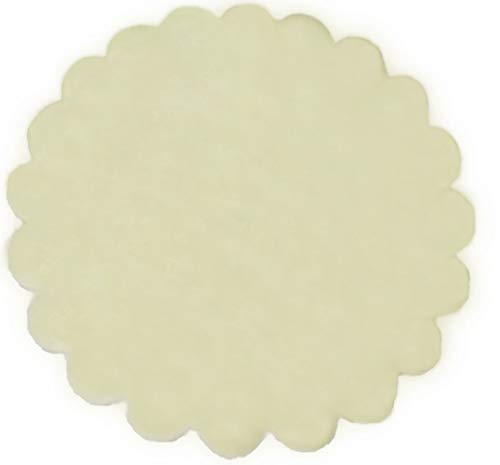 Organza Scalloped Edge Tulle Round Circles Wedding Favor 24cm Dia. Pack of 100Pcs (Ivory)