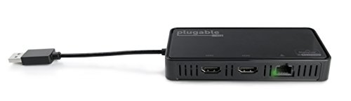 Plugable USB 3.0 Dual 4K HDMI 2.0 Adapter with Gigabit Ethernet for Windows (Supports Two HDMI Displays up to 3840x2160@60Hz, Windows 10, 8.1 & 7) ()