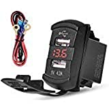 Waterproof  4.2A Dual USB Charger Socket with Blue LED Digital Voltmeter,Rocker Switch  Power Outlet Marine Cigarette Lighter Adapter for 12V/24V Boat Motorcycle SUV Bus Truck (Red LED)