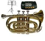 Merano NEW B Flat Gold / Silver Pocket Trumpet with Case+Mouth Piece+Metro Tuner+Black Music Stand by Merano