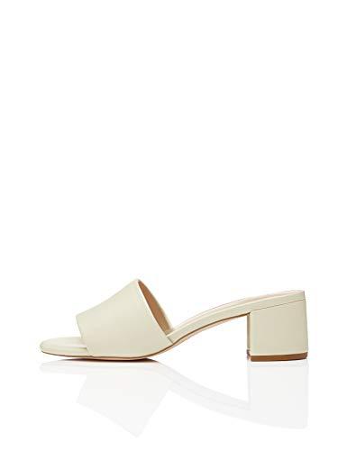 Amazon Brand - find. Women's Block Heel Mule Open-Toe Sandals White (Off White Off White), US 7.5
