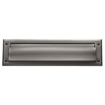 Baldwin 0015 Magazine Sized Spring Tension Brass Letter Box Plate, Lifetime Polished Nickel
