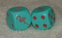 Green With Pink Flamingos Dice Pair ()
