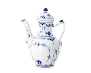 Royal Copenhagen Blue Fluted Half Lace Coffee Pot Blue Fluted China