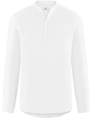 Bianco Colletto 1000n Ultra Lino Camicia Uomo In Oodji Senza YHfq04U4