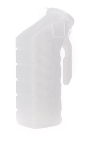 BodyHealt Deluxe Male Urinal Incontinence Pee Bottle 32oz./1000ml with Cover (Standard Lid, Pack of 2)