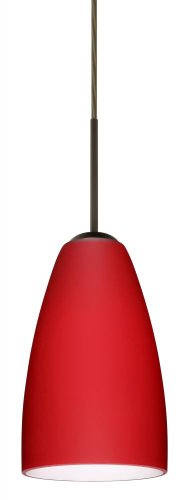 (Besa Lighting 1JT-1511RM-LED-BR 1X6W GU24 Riva 9 LED Pendant with Ruby Matte Glass, Bronze Finish )