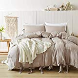 GiveUWant Butterfly Bow tie Duvet Cover Set King(104x90 Inch), 3 Pieces Khaki Ultra Soft Washed Cotton Bowknot Duvet Cover Set, Easy Care Bedding Set for Men, Women, Boys and Girls ()