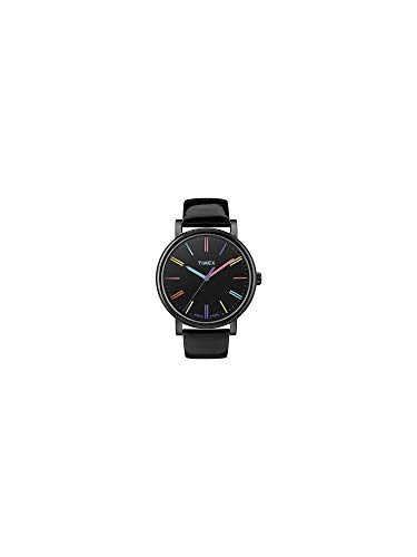 (Timex Women's T2N790 Quartz Watch with Black Dial Analogue Display and Black Leather Strap)