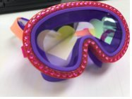 Fruit Inspired Goggles With Heart Lenses For Kids by Bling2O - Anti Fog, No Leak, Non Slip and UV Protection - I Love Red Raspberries Colors Fun Water Accessory Includes Hard Case