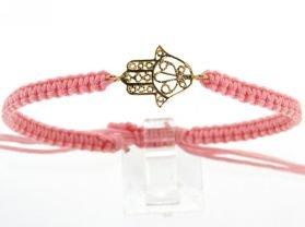18KT Yellow Gold Hamsa Cord Pink Bracelet by Amalia Children's Fine Jewelry